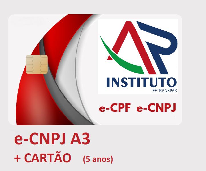 E-CNPJ A3 EM CARTÃO INTELIGENTE (VALIDADE DE 05 ANOS)