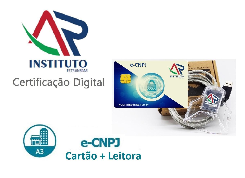 e-CNPJ A3 EM CARTÃO INTELIGENTE + LEITORA (validade de 03 anos)