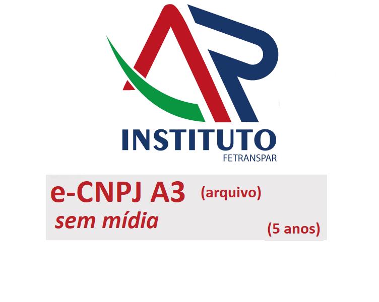 E-CNPJ A3 SEM MÍDIA (VALIDADE DE 05 ANOS)