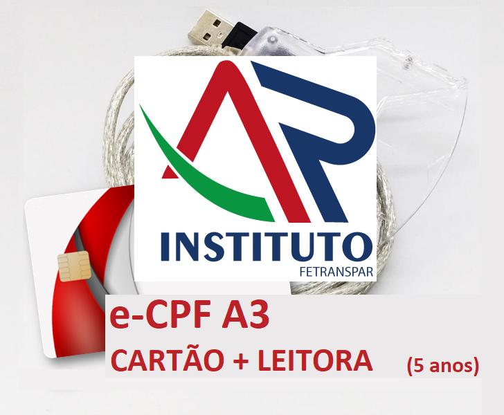 E-CPF A3 EM CARTÃO INTELIGENTE + LEITORA (VALIDADE DE 05 ANOS)
